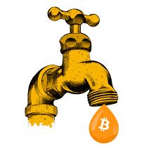 Заработок на криптовалюте, обмен криптовалюты, Криптовалютные кошельки. Кран желтого цвета, из крана капает капля, на которой изображение - знак Биткоин. Picture