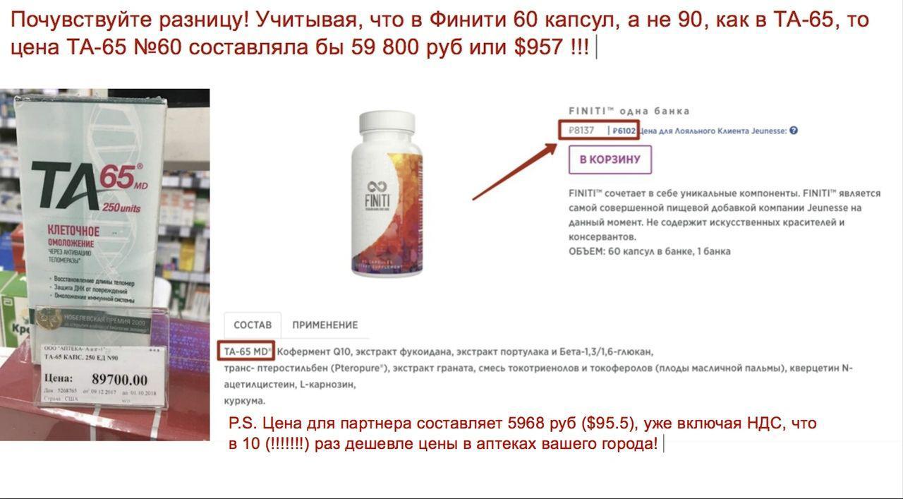 Сравнение 2 препаратов ТА-65 и Финити, аналогов в оздоровлении по стоимости. Финити на много дешевле. Картинка.