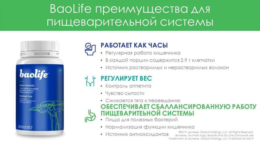 Baolife, преимущества для пищеварительной системы, перечислены. Picture.
