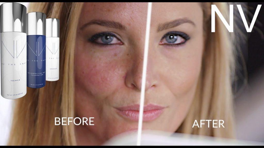 NV, косметика от Jeunesse, на фото - лицо женщины, до и после нанесения косметики. Picture.