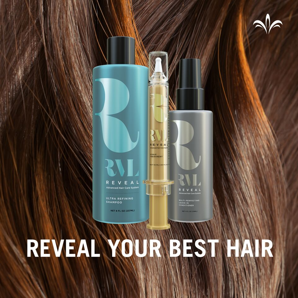 RVL шампунь, три продукта (Reveal your best hair-покажи свои лучшие волосы). Picture.