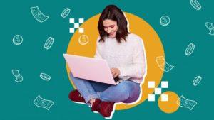 Варианты обучения заработка в интернете, женщина с ноутбуком. Picture.